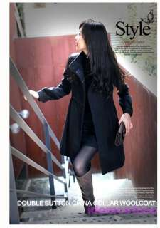 Black Womens NEW Ladies Military Trench Coat Jacket