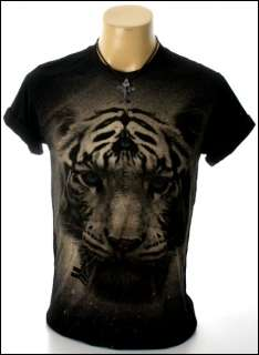 New Indie Rock Retro Magic Tiger Black Men T Shirt Size L