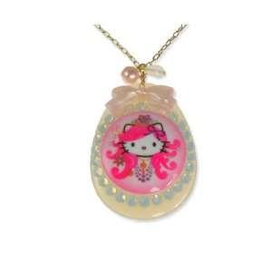 Tarina Tarantino Hello Kitty Pink Head Russian Nouveau Drop Necklace
