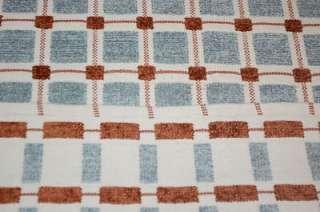 4x6 AREA RUG HANDMADE CHENILLE WHITE BLUE BROWN PICNIC