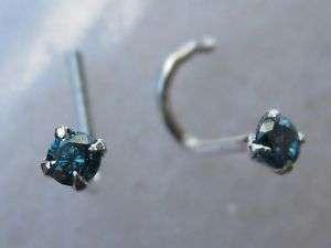 STERLING SILVER 20g GENUINE BLUE DIAMOND NOSE RING