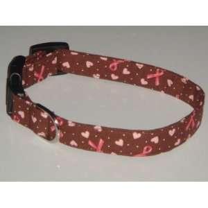 Breast Cancer Awareness Ribbon Heart Brown Pink Dog Collar