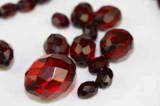 Vintage Faceted Cherry Amber Color Prystal Bakelite Loose Beads from
