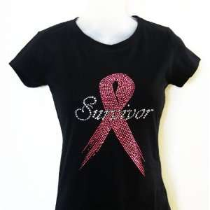Rhinestone iron on Transfer T shirt Breast Cancer Survivor