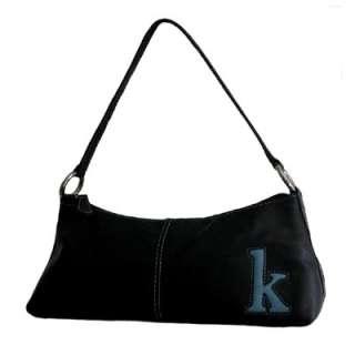 NINE WEST Black Leather Monogram K Shoulder Bag Handbag