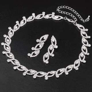 Swarovski Crystal Jewelry Set,Silver tone Sparkling Eyes Necklace And