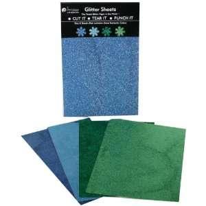 Glitter Sheets Dark Blue, Light Blue, Green, Chartreuse