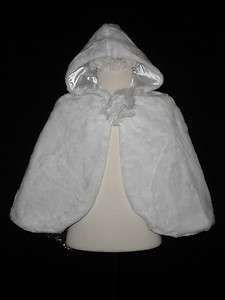 New Little Girl Faux Fur Cape White for Easter Wedding Formal Party