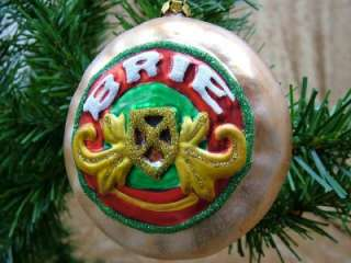 New Brie Cheese Glass Christmas Tree Ornament