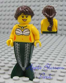 Female MERMAID MINIFIG Minifigure w/Shell Torso Dark Brown Hair