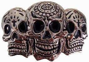 Dia De Los Muertos 3 Sugar Skulls BELT BUCKLE Goth dead