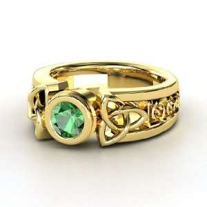 Celtic Sun Ring, Round Emerald 14K Yellow Gold Ring Jewelry