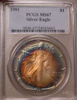 TONED PCGS 1991 MS67 BEAUTIFUL BULLS EYE TONING SUPER COIN