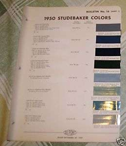 1950 Studebaker Dupont paint chips paint color samples