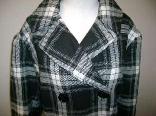 Steve Madden Black & White Plaid Peacoat NWT $240