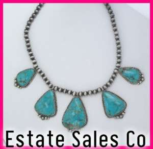 Andy Cadman Navajo Silver & Turquoise Bead Necklace