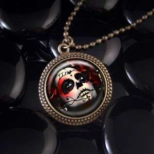 Dia De Los Muertos Girl Antique Bronze Necklace RF 303