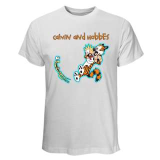 HOT Black & White T Shirt Calvin and Hobbes Funny Strip Comic With