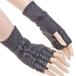 KH1778 Grey Punk Rock Gothic Fashion Fingerless Gloves