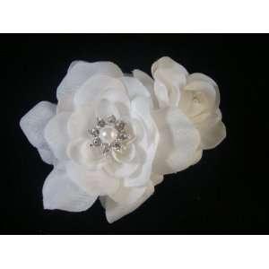 NEW Elegant White Gardenia Hair Flower Clip, Limited