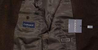 CANALI COAT $1850 DARK BROWN CASHMERE/WOOL 4 BTN WINTER TRENCH COAT