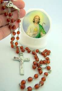 Saint Jude Rosary & Case REligious Gift Set Patron St.