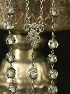 ANTIQUE FRENCH ROSARY SILVER WHITE CRYSTAL 59 CAPED BEADS 19C