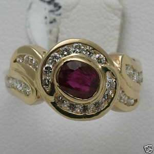 yellow gold Ruby & Diamond Ring band 1.5 carat oval channel set swirl