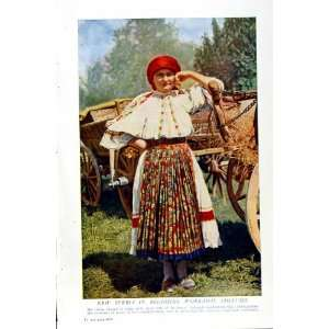 c1920 SERBIA COUNTRY WOMAN COSTUME CART COLOUR PRINT