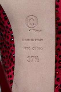 MCQUEEN Red CRYSTAL COVERED Platform Pump High Heel Open Toe 7.5 37.5