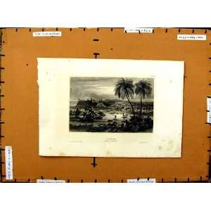 C1800 View Chagres Central America Trees Ships Print