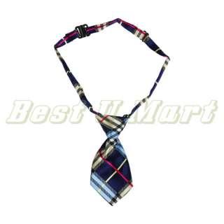 Adjustable Blue Grid Pet Dog Cat Handsome Bow Tie Necktie Collar 25cm