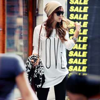 D5006 Japan Korea Fashion Women White Letters Printed Long Sleeve Top