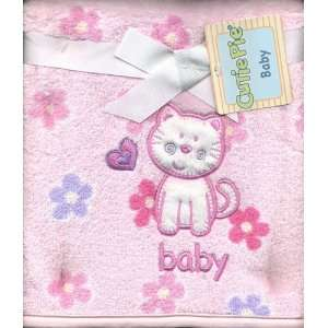 Girls Pink Super Soft Plush Baby Blanket Flowers Embroidered