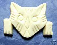 CELLULOSE ACETATE CARVED PLASTIC KITTY CAT KITTEN PIN