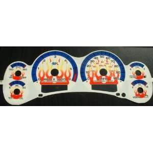 White Face Glow Gauges w/Flames  1998 2000 Chevy S10 Blazer AT w
