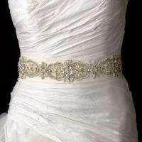 White Beaded Pearl Rhinestone Wedding Sash Bridal Belt 95 Long