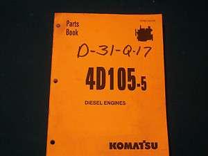 ORIGINAL Komatsu 4D105 5 Diesel Engines Parts Book Very NIce