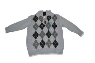 THE CHILDRENS PLACE BOYS PULLOVER SWEATER 2T 3T 1/4 ZIP GRAY BLACK