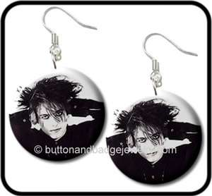 ROBERT SMITH   THE CURE* Goth Rock Button EARRINGS