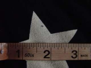 Blk White Star Print Skater Punk Rock Off the Shoulder Sweater Knit