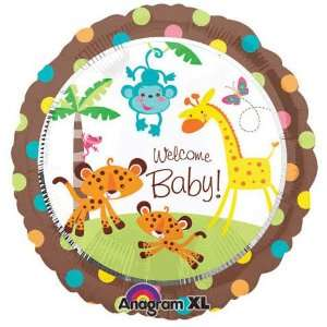 Baby Jungle Animals Welcome Baby 18 Mylar Balloon Toys