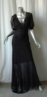 CHRISTIAN DIOR BOUTIQUE Black SILK Chiffon Gown Dress 8
