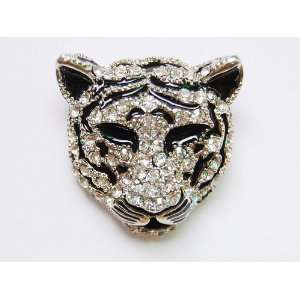Rhinestone Black White Stripe Snow Tiger Feline Cat Head Brooch