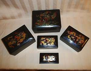 China Lacquer Ware Dragon 5 Nesting Boxes Hand Painted Chinese