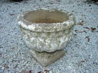 OLD ANTIQUE CONCRETE GARDEN URN PLANTER CHIPPY POT