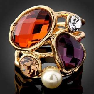 Pearl Brown Purple Clear Swarovski Crystal Gold GP Ring