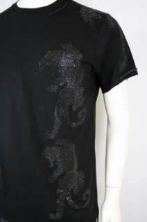 100% Auth New Christian Audigier Panther Lux Rhinestones Black Tee T