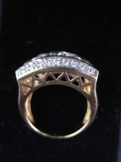Gold 925 Sterling Silver Cocktail Fashion Ring CZ Size