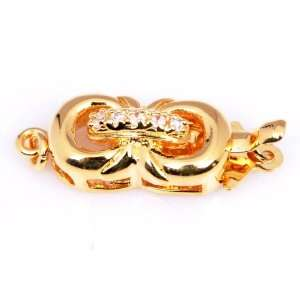 8x16mm 18K Yellow Gold Plated double Ring Deco Clip Clasp